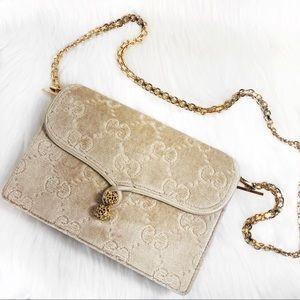 1970s Gucci Velvet Burnout Monogram Bag RARE